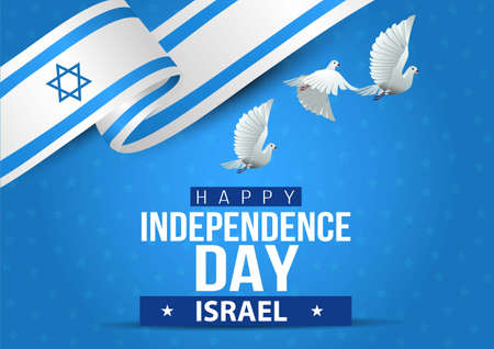 happy independence day israel. flying  dove with israel flag. vector illustration 일러스트