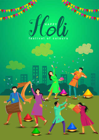 Happy holi festival. Indian people dance with holi celebration  background. vector illustration design