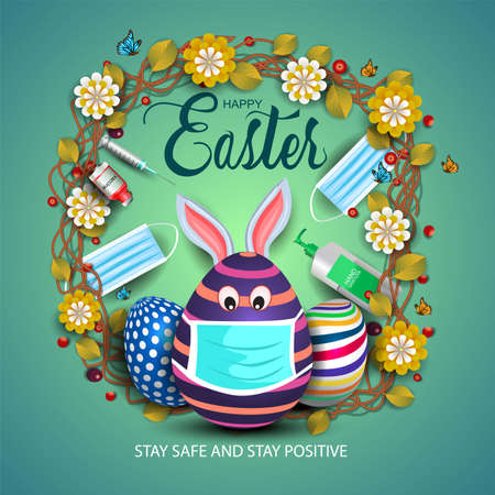 happy Easter greetings. egg wearing medical mask. vector illustration design. covid-19, corona virus concept