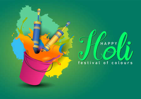 happy Holi, poster, banner, template. colorful bucket and pichkari. vector illustration design. 일러스트