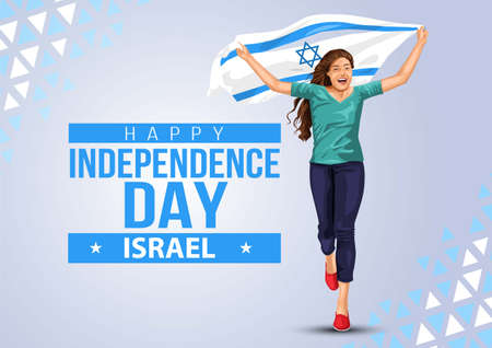 happy independence day israel. girl running with israel flag. vector illustration design 일러스트