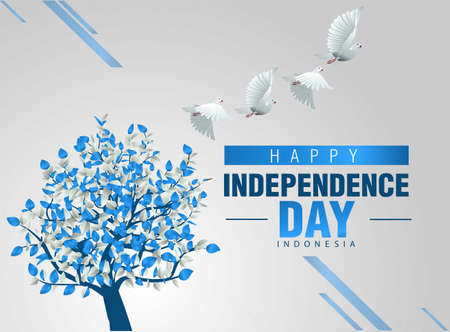 happy independence day Israel greetings with colorful tree and flying bird. vector illustration design