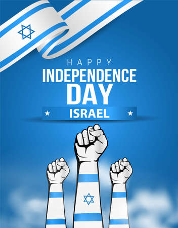 happy independence day israel greetings. holding hand wuth flag. vector illustration design 일러스트