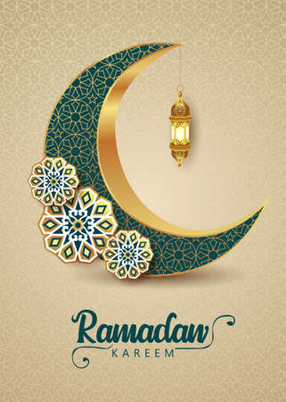 Crescent Islamic with Lantern for Ramadan Kareem. Golden Pattern Half Moon, Lamp - vector illustration design 일러스트