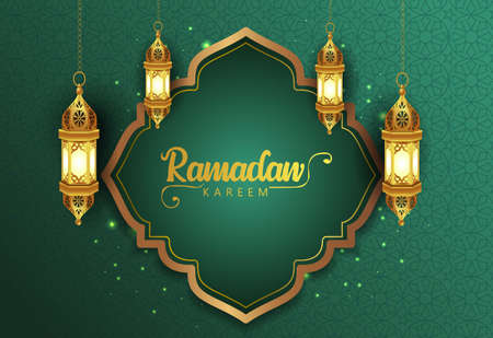 ramadan kareem greetings. golden lantern hanging background  .vector illustration design 일러스트