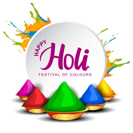 Happy holi celebration white background. vector illustration 일러스트