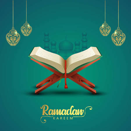 ramadan kareem greetings with Quran and wooden stand. vector illustration design