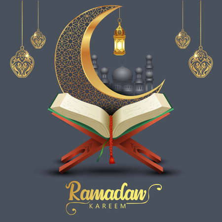 ramadan kareem greetings with Quran and wooden stand, patterned half moon. vector illustration design