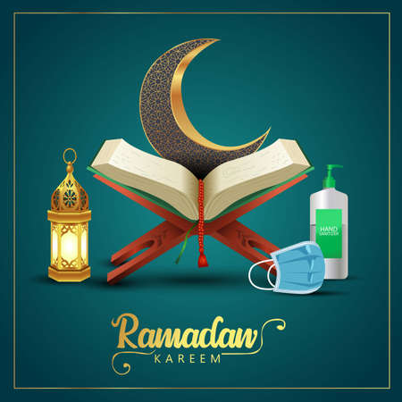 ramadan kareem greetings with Quran and wooden stand, patterned half moon. vector illustration design .