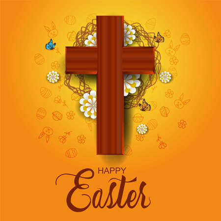 happy Easter greetings. cross with flowers and twigs. vector illustration design. 일러스트