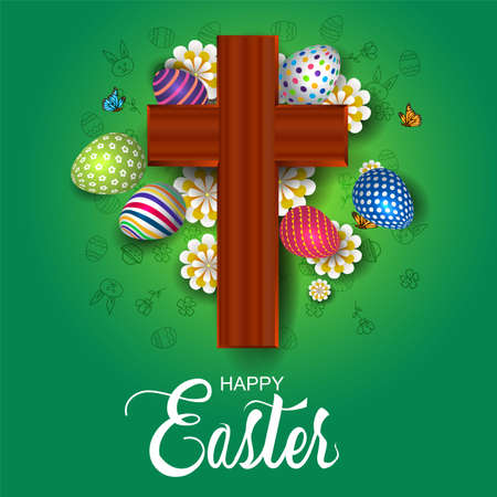 happy Easter greetings. cross with flowers and eggs. vector illustration design.