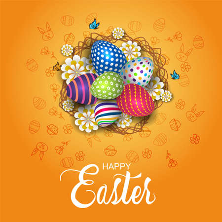 happy Easter greetings. twigs cage with flowers and eggs. vector illustration design.