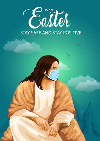 happy Easter greetings. Jesus vector illustration design.