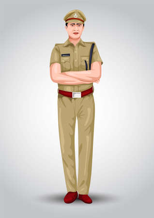 indian police officer front view vector illustration design