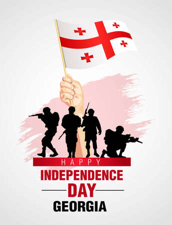 happy independence day Georgia. Georgian soldier with gun vector illustration design