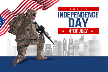 Fourth of July American Independence Day. soldier with gun and flag. Vector illustration