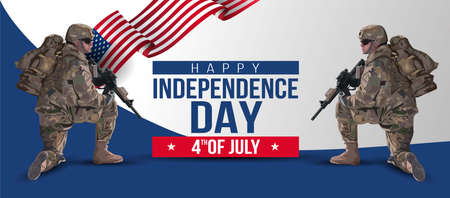 illustration of Fourth of July background for Happy Independence Day of America. two soldier with gun and flag. Vector painting. Vetores