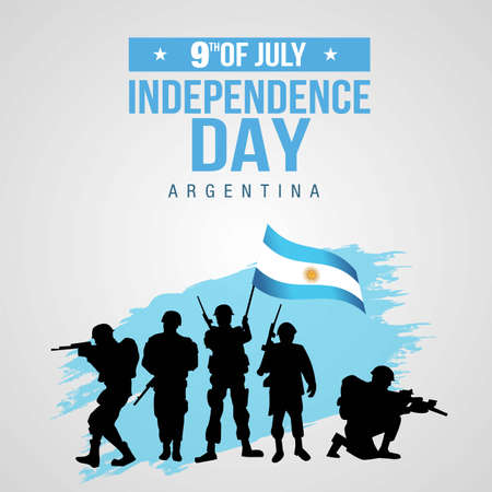 Happy independence day Argentina 9th of July Vector Template Design Illustration. silhouette soldiers raising with flag Vetores