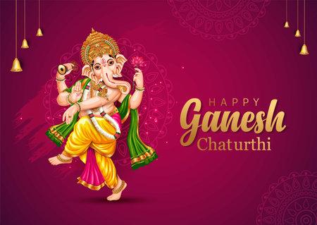 happy Ganesh Chaturthi greetings. vector illustration design. Vektorové ilustrace