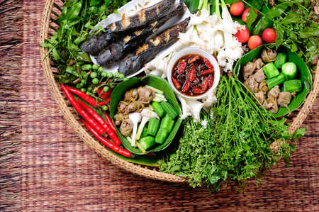 thai hot and spicy sauce with herb and vegetables