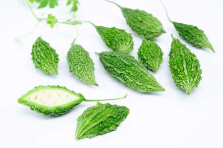 Green Momordica or karela with leaf