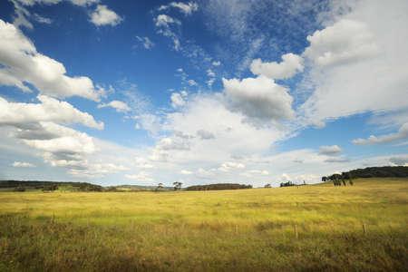 paysage rural typique en Australie, avec de beaux nuages ??dans le ciel bleu Banque d'images