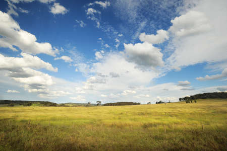 typical rural scenery in Australia, with beautiful clouds in blue sky photo