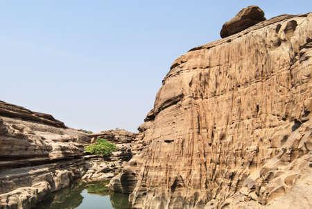 Natural of Rock Canyon in Khong River photo