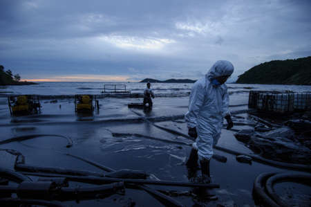 koh samet: crude oil on oil spill accident on Ao Prao Beach at Samet island on July 31,2013 in Rayong,Thailand