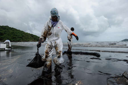 crude oil on oil spill accident on Ao Prao Beach at Samet island on July 31,2013 in Rayong,Thailand