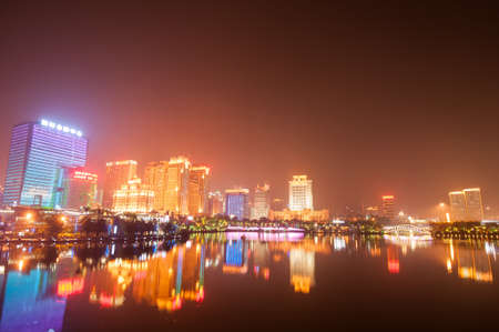 modern city at night, Nanning, China Editorial