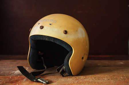 Vintage yellow Motorcycle helmet