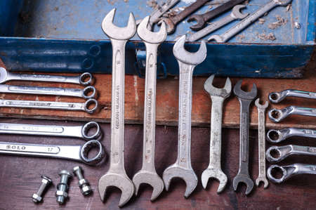 Dirty set of Wrench on a tool box/vintage background with a tools photo