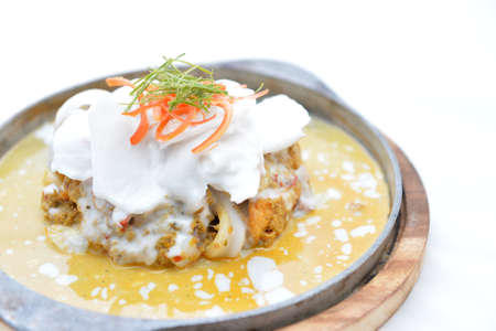Steamed seafood and coconut with curry paste Thai Food photo