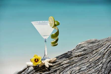 Margarita with salt and lemon on glass rim