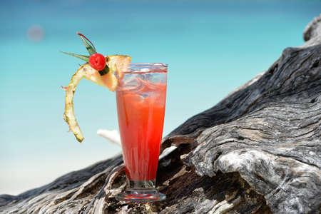 fruity mocktail drink on beach