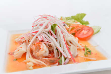 salad Seafood Thai Style in thai restaurant Stock Photo - 24067712