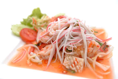salad Seafood Thai Style in thai restaurant Stock Photo - 24067714