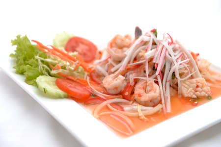 salad Seafood Thai Style in thai restaurant Stock Photo - 24067716