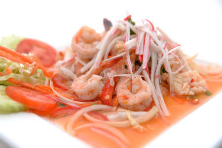 salad Seafood Thai Style in thai restaurant Stock Photo - 24067717