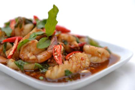 Thai fried shrimp and squid in basil sauce