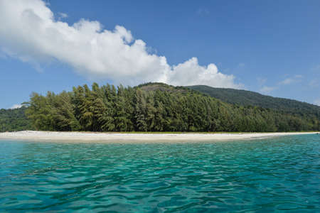 stormy waters: Sandy coast and clear sea of the Tarutao marine National Park. Southern of Thailand