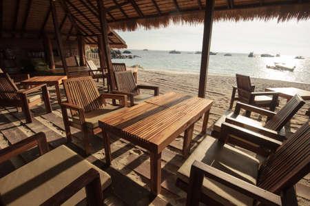a restaurant terrace on beach front photo