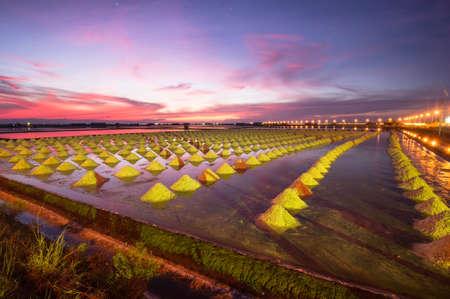 Beautiful Night Scene of Salt Pan in Thailand photo