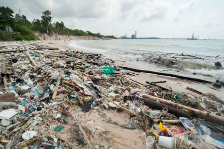 Garbage and wastes on the beach,Rayong, Thailand