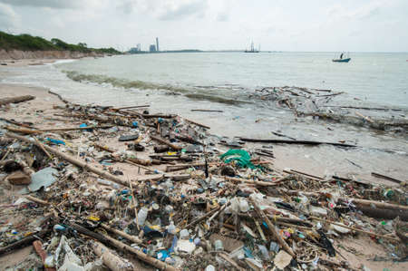 Garbage and wastes on the beach,Rayong, Thailand photo