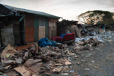 The damage after flood crisis at the village in Bangkok, Thailand