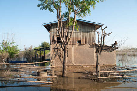 Abstract Texture de fond de motif de tache de niveau d'eau après les inondations sur la maison de mur, la Thaïlande
