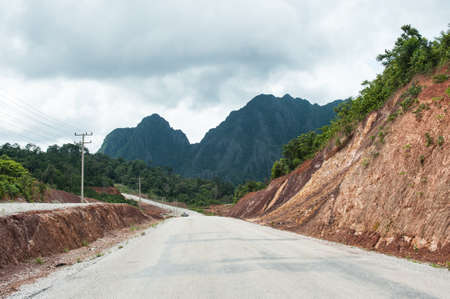 Tropical rainforestnew are destroyed for new road in Laos