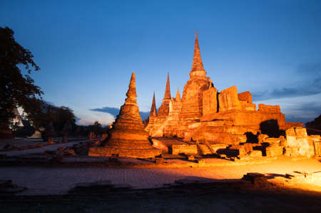 Old Temple Architecture , Wat Phra si sanphet at Ayutthaya, Thailand, World Heritage Site Stock Photo
